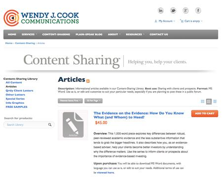 Wendy Cook's Content Sharing Library, where you can buy pre-produced content